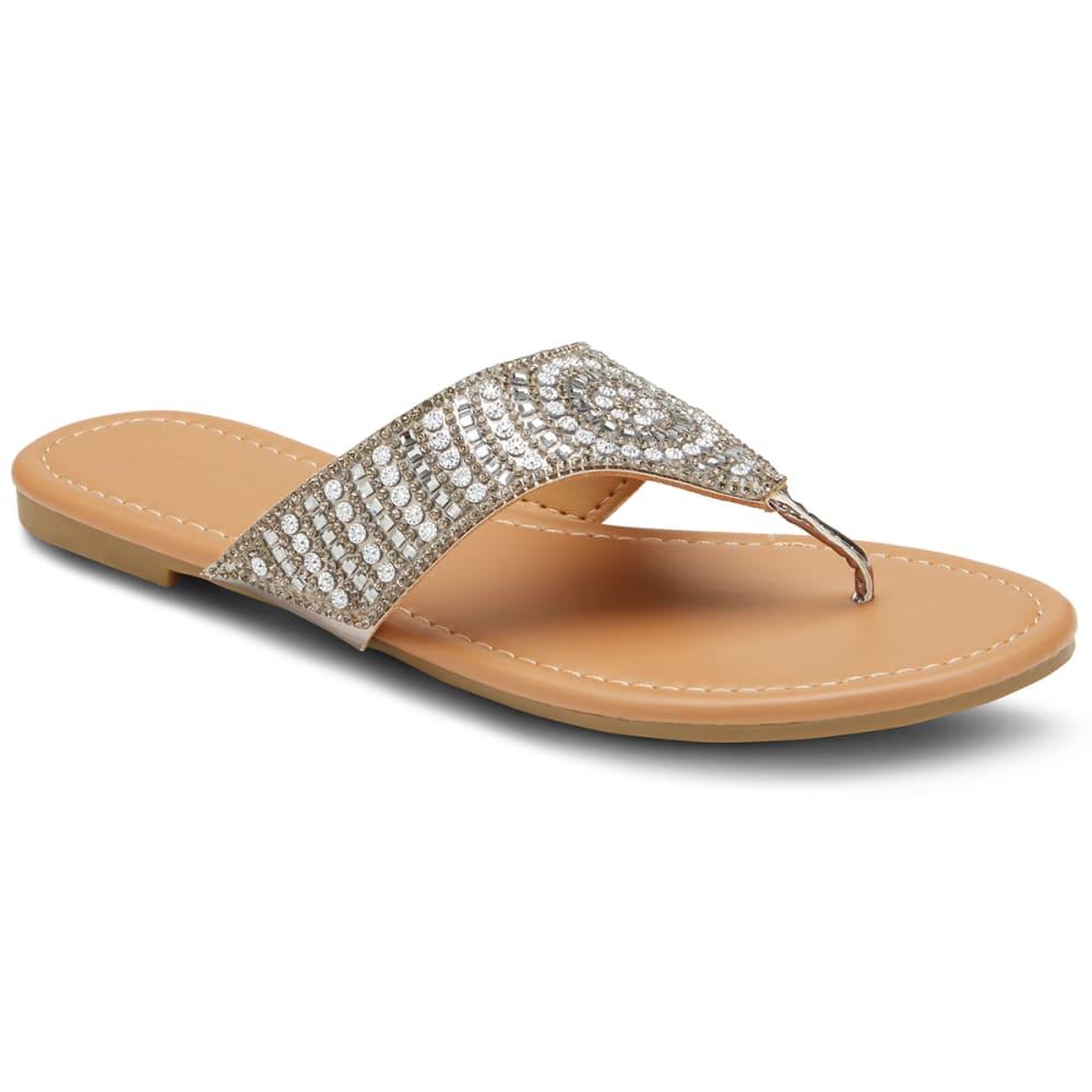 OLIVIA MILLER Women's Rhinestone Hooded Sandals - BLACK
