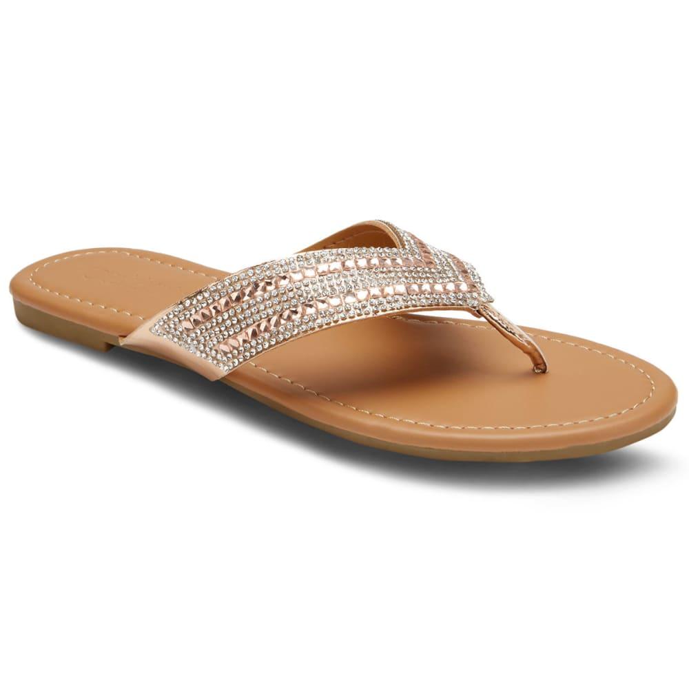 OLIVIA MILLER Women's Rhinestone Thong Sandals - ROSE GOLD