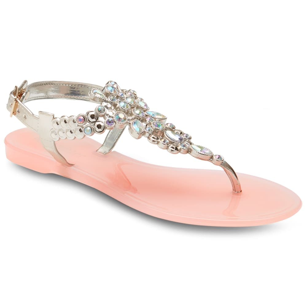 OLIVIA MILLER Women's Rhinestone Jelly Sandals - BLUSH