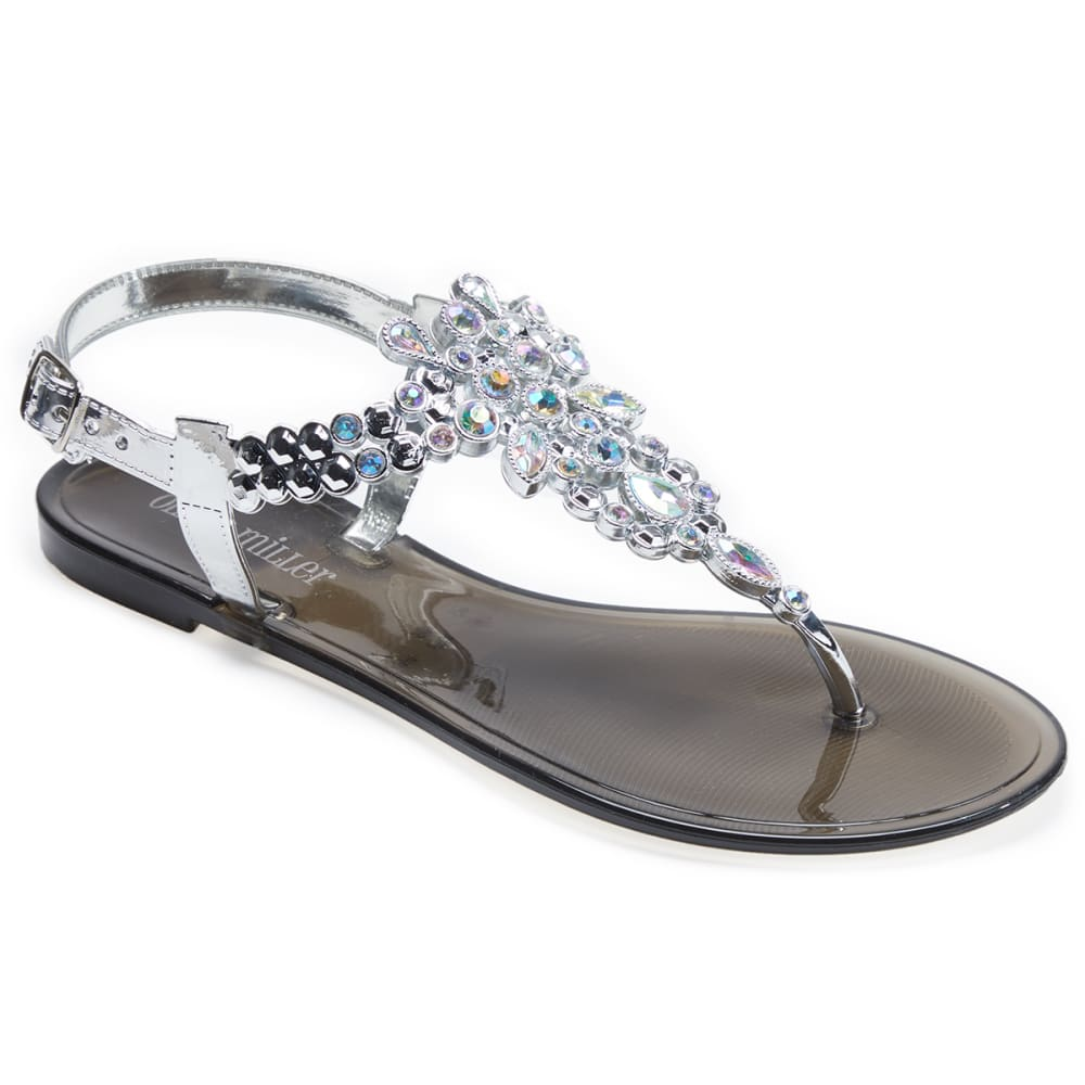 OLIVIA MILLER Women's Rhinestone Jelly Sandals - BLACK