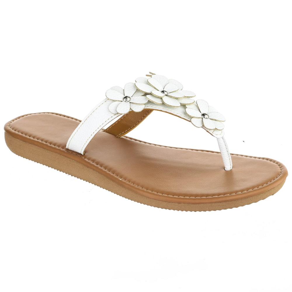 OLIVIA MILLER Women's Floral Hooded Thong Sandals - WHITE