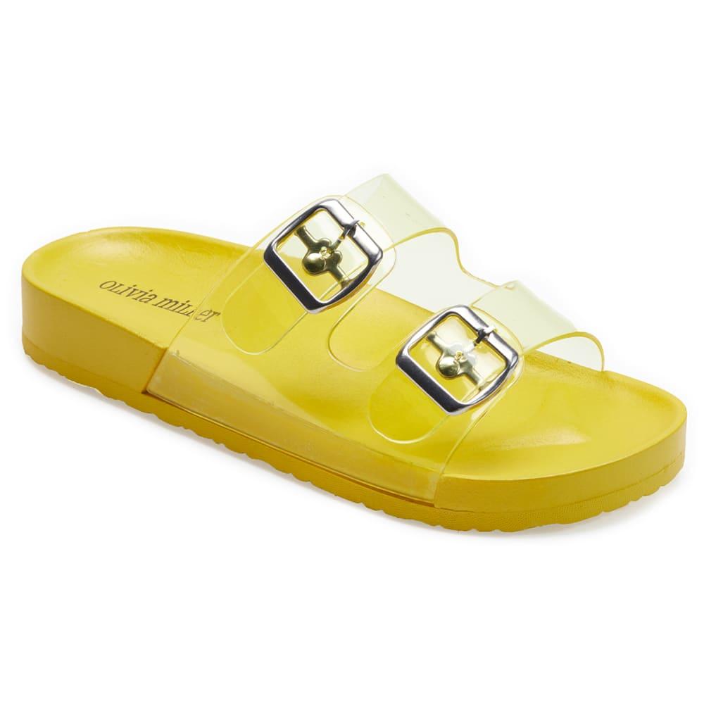 OLIVIA MILLER Women's Jelly Double Band Slide Sandals 6