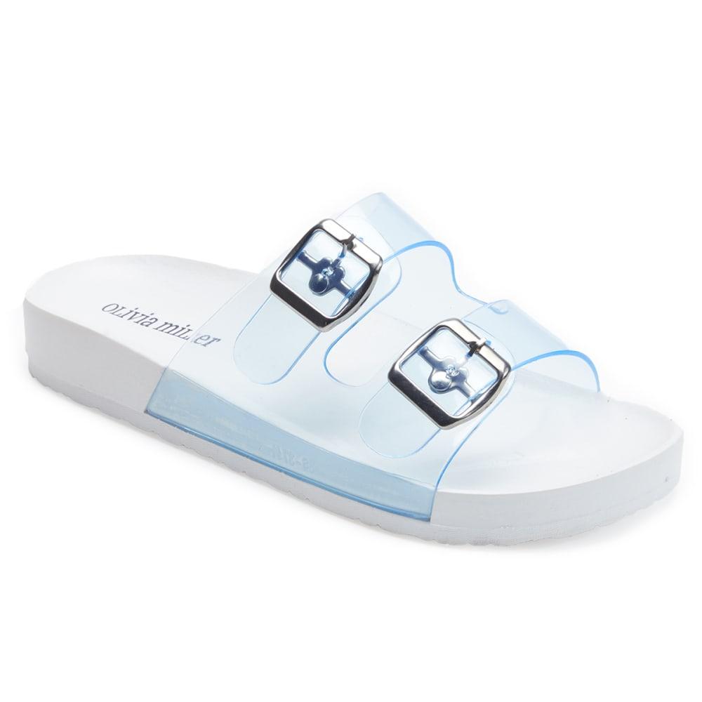 OLIVIA MILLER Women's Jelly Double Band Slide Sandals - WHITE