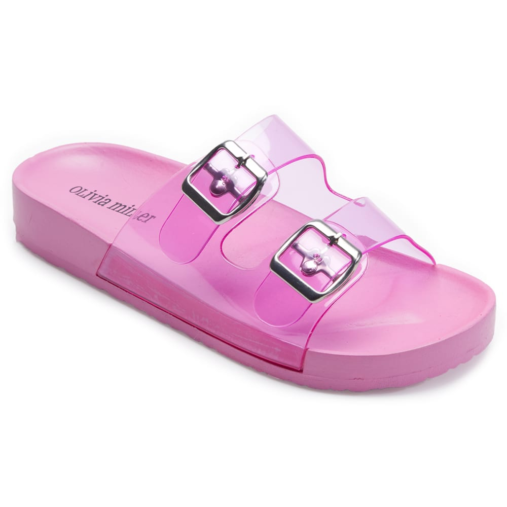 OLIVIA MILLER Women's Jelly Double Band Slide Sandals - PINK