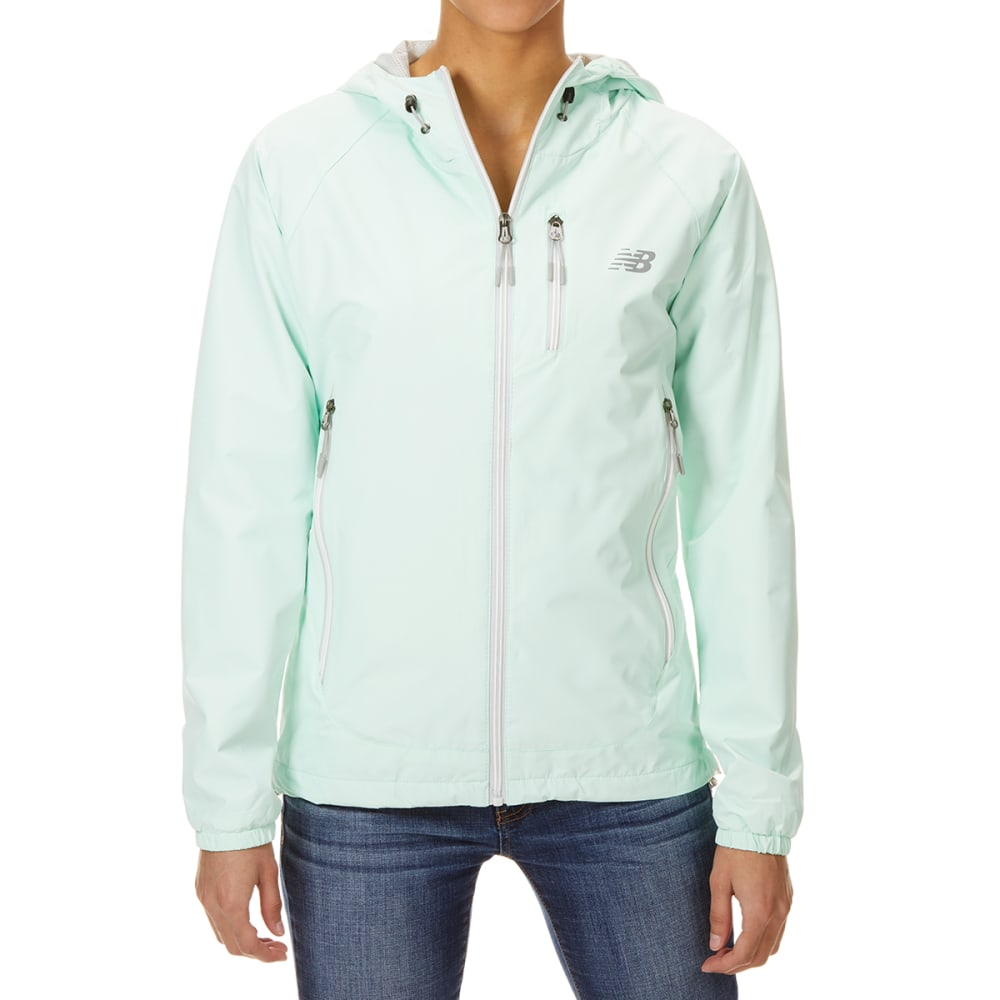 NEW BALANCE Women's Solid ID Dobby Hooded Jacket with Chest Pocket - WATER VAPOR-BL563