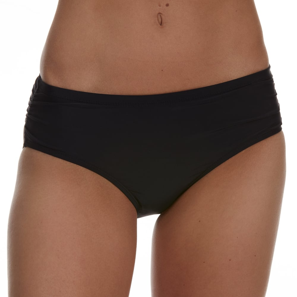 Free Country Women's Swim Side Ruched Bikini Bottoms - Black, L