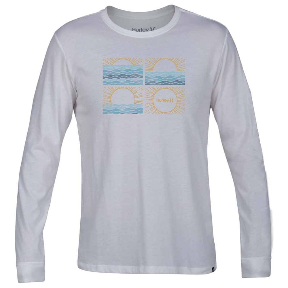 Hurley Guys' Sunrise Graphic Long-Sleeve Tee - White, S