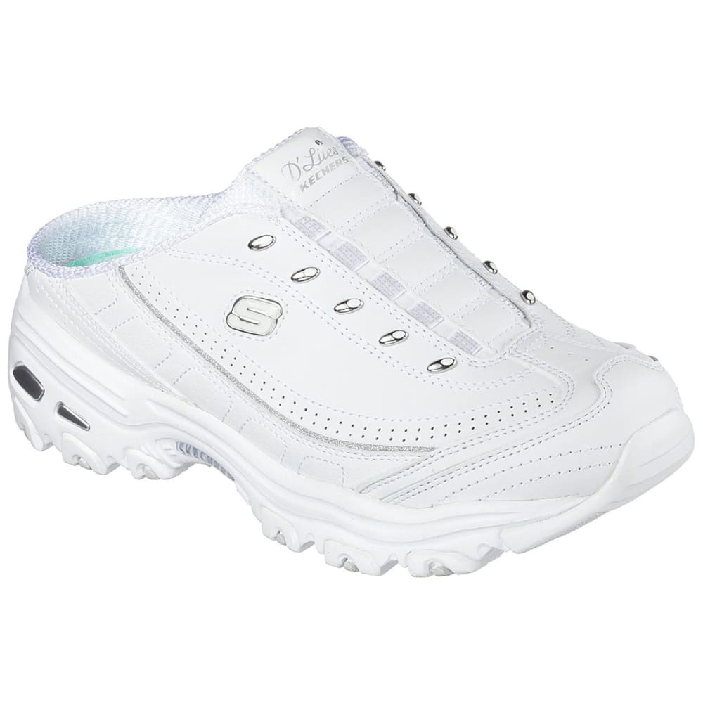 Skechers Women's D'lites Bright Sky Shoes, Wide - White, 7.5