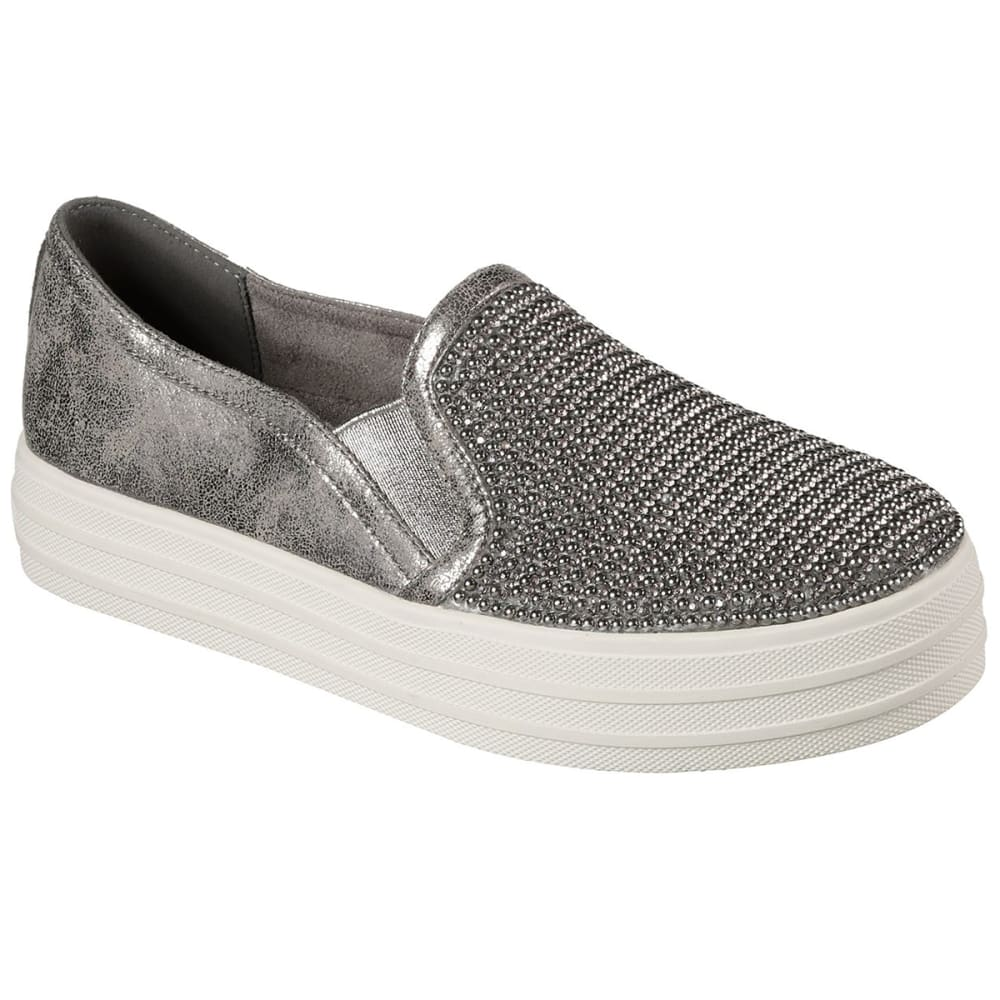 SKECHERS Women's Double Up Shiny Dancer Fashion Sneakers - PEW PEWTER