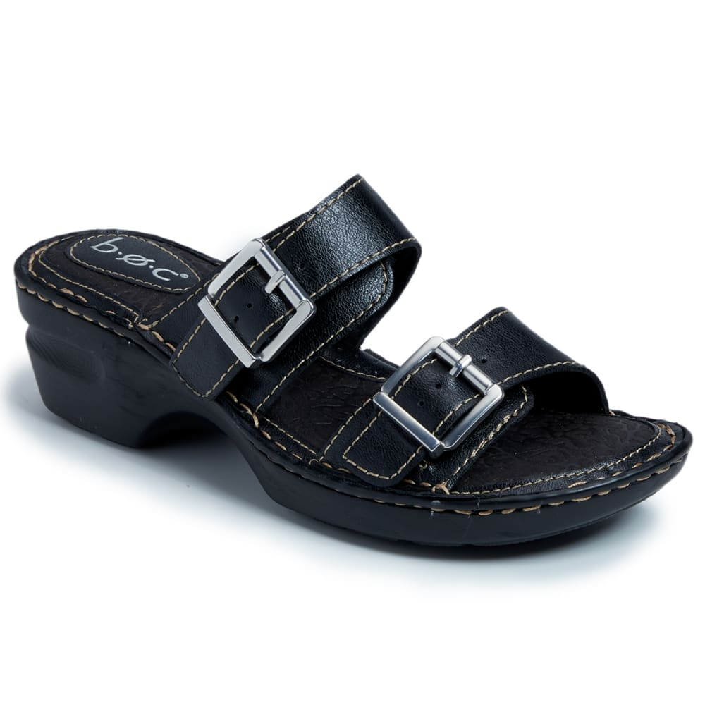 B.O.C. Women's Elden Buckle Wedge Sandals - BLACK