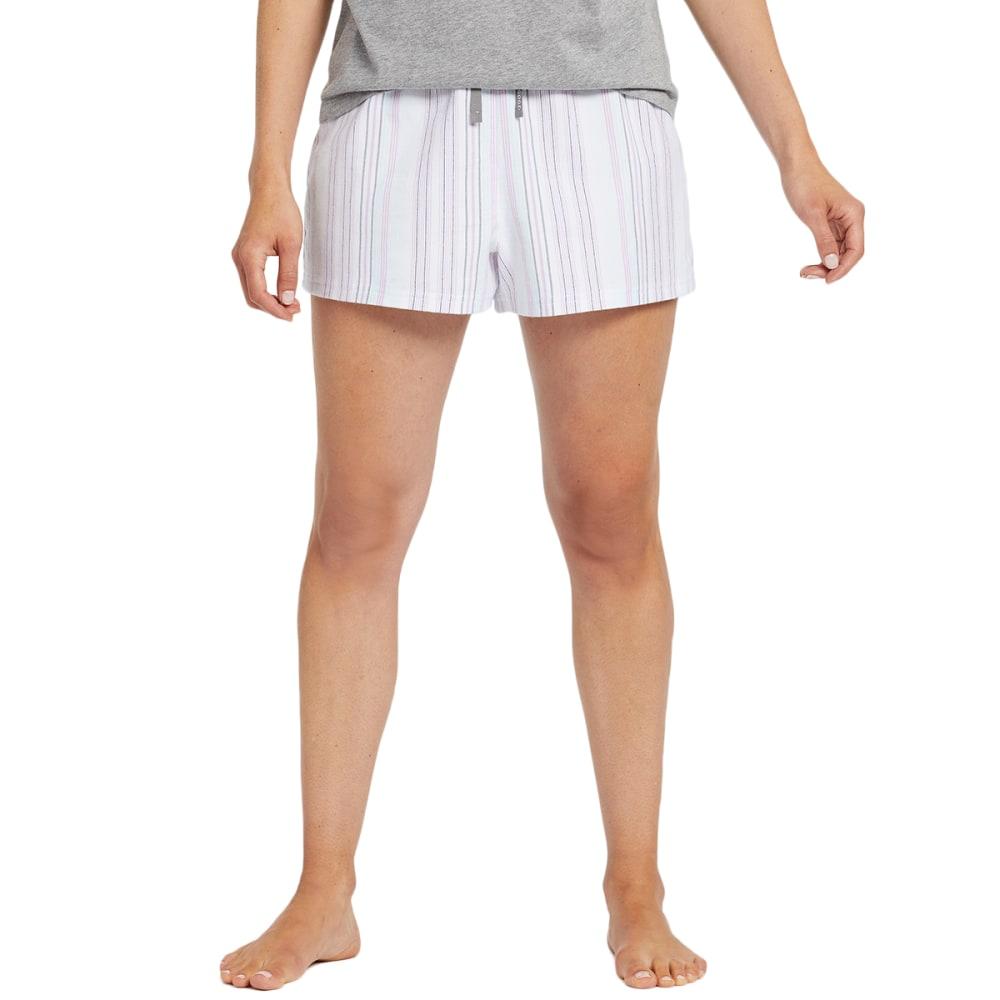 Life Is Good Women's Grape Bermuda Stripe Boxer Short - White, M