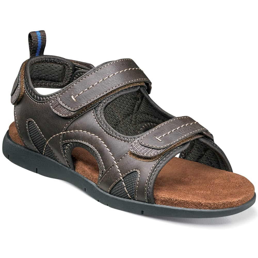 NUNN BUSH Men's Rio Grande Three-Strap Wide Sandal - BROWN