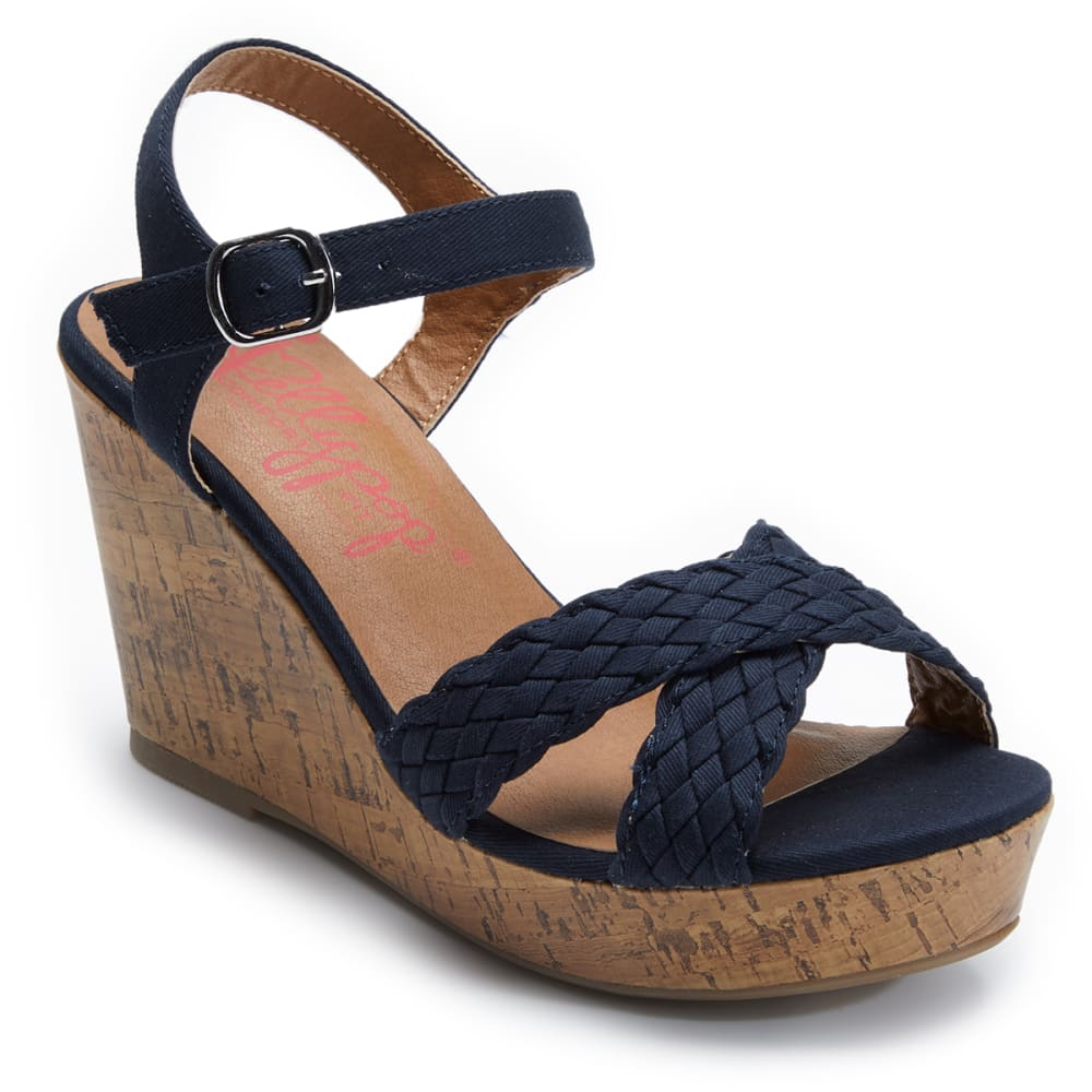 JELLY POP Women's Panke Braided Wedge Sandals - NAVY