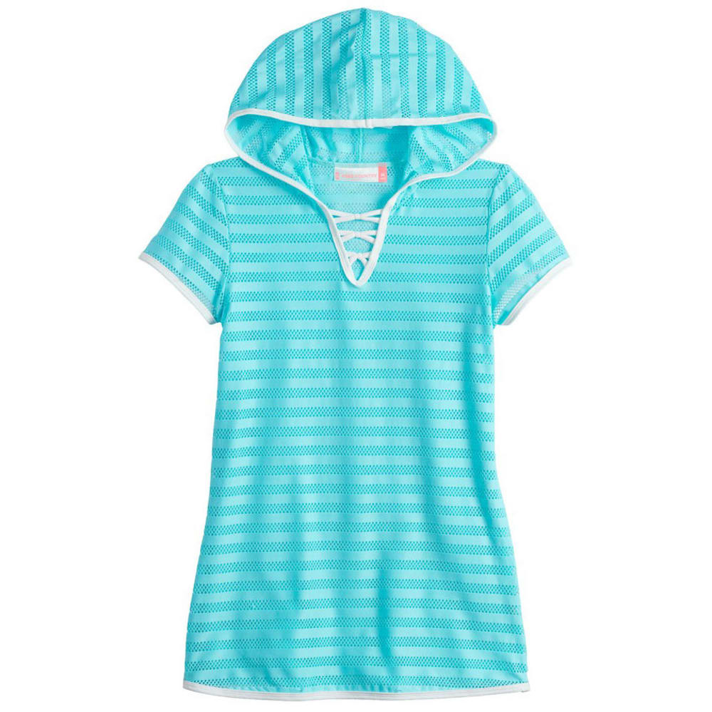 FREE COUNTRY Girls' Mesh Stripe Hooded Criss Cross Cover Up M