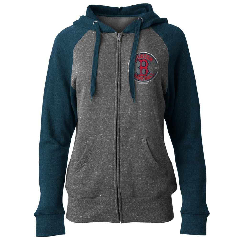 BOSTON RED SOX Women's Tri-Blend Full-Zip Hoodie - GREY/NAVY