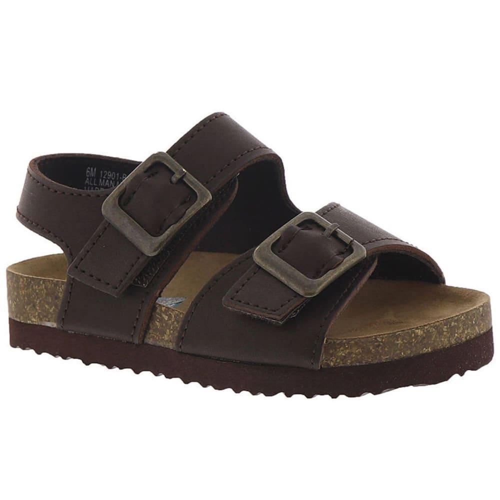 RACHEL SHOES Little Boys' Lil Jack Buckle Sandals - BROWN SMOOTH