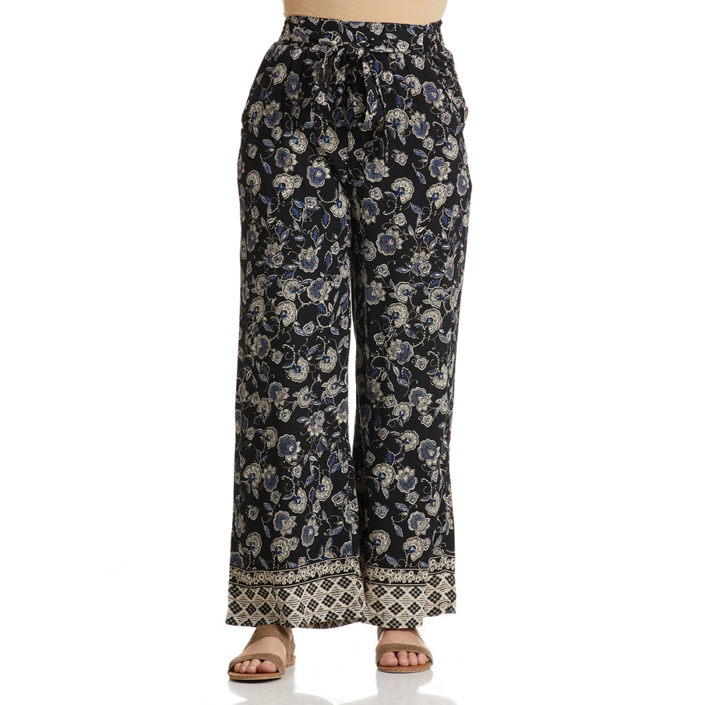 ANGIE Juniors' Floral Tie Front Pants S