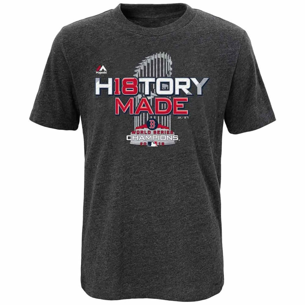 BOSTON RED SOX Big Kids' 2018 World Series Champions Locker Room Short-Sleeve Tee - CHARCOAL HEATHER