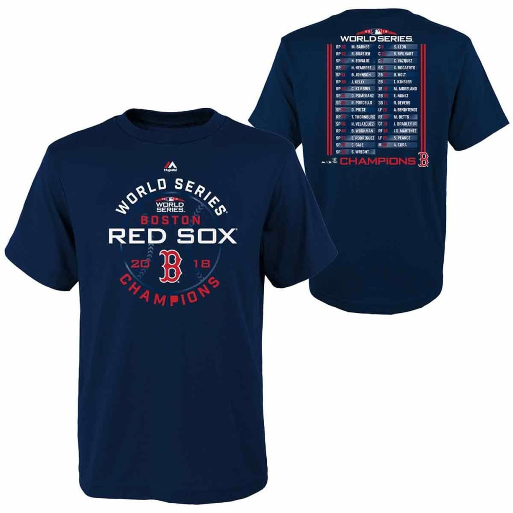 BOSTON RED SOX Big Kids' 2018 World Series Champions Roster Short-Sleeve Tee - NAVY