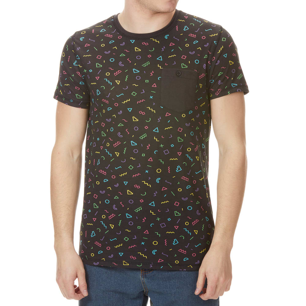 ALPHA BETA Men's Squiggle Print Short-Sleeve Tee - BLACK