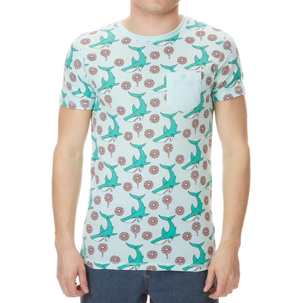 ALPHA BETA Men's Shark Print Short-Sleeve Tee S