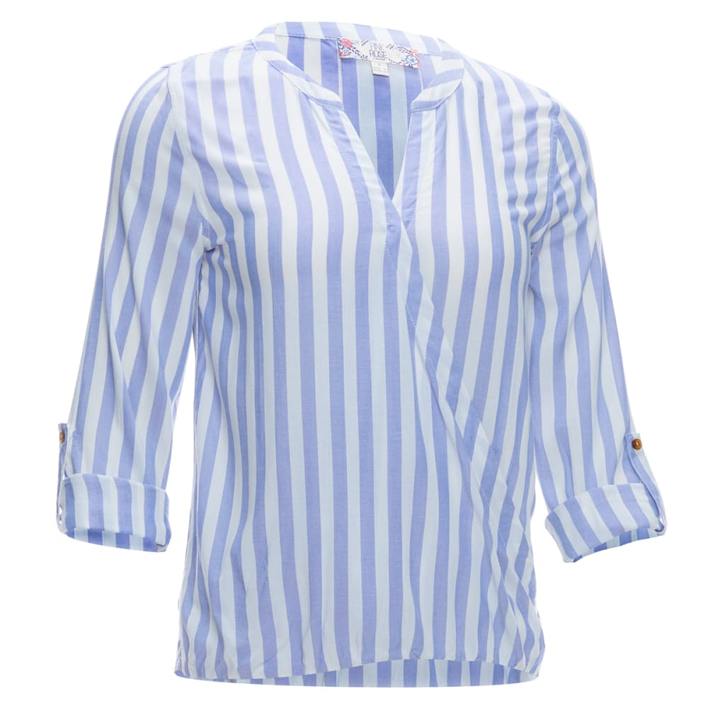 Pink Rose Juniors' Roll Tab Sleeve Stripe Surplus Front Shirt - White, S