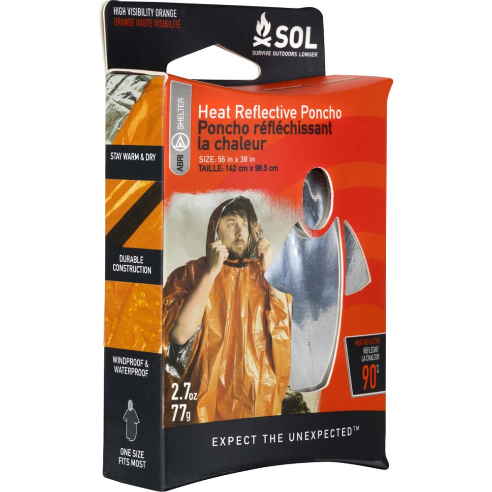 SOL Heat Reflective Survival Poncho NO SIZE