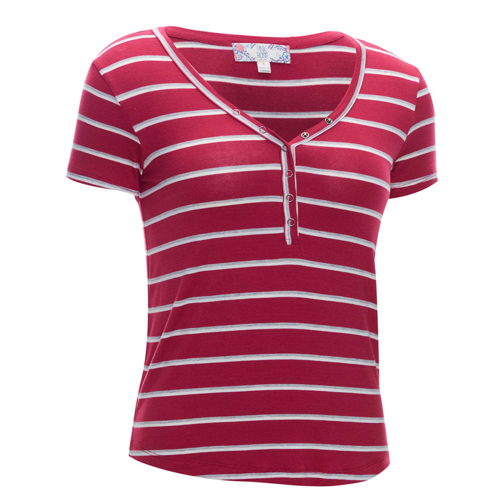 Pink Rose Juniors' Short-Sleeve Rayon Stripe Placket Jersey Tee - Red, S