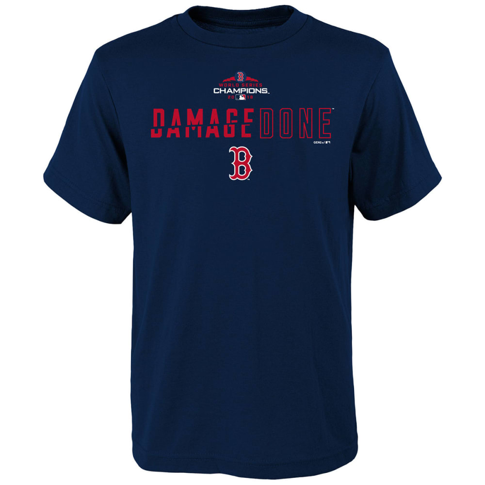 BOSTON RED SOX Big Kids' 2018 World Series Champions Damage Done Short-Sleeve Tee - NAVY