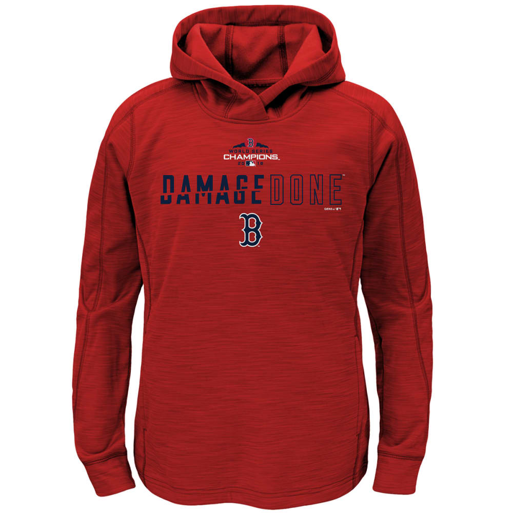 BOSTON RED SOX Big Kids' 2018 World Series Champions Damage Done Pullover Hoodie - RED