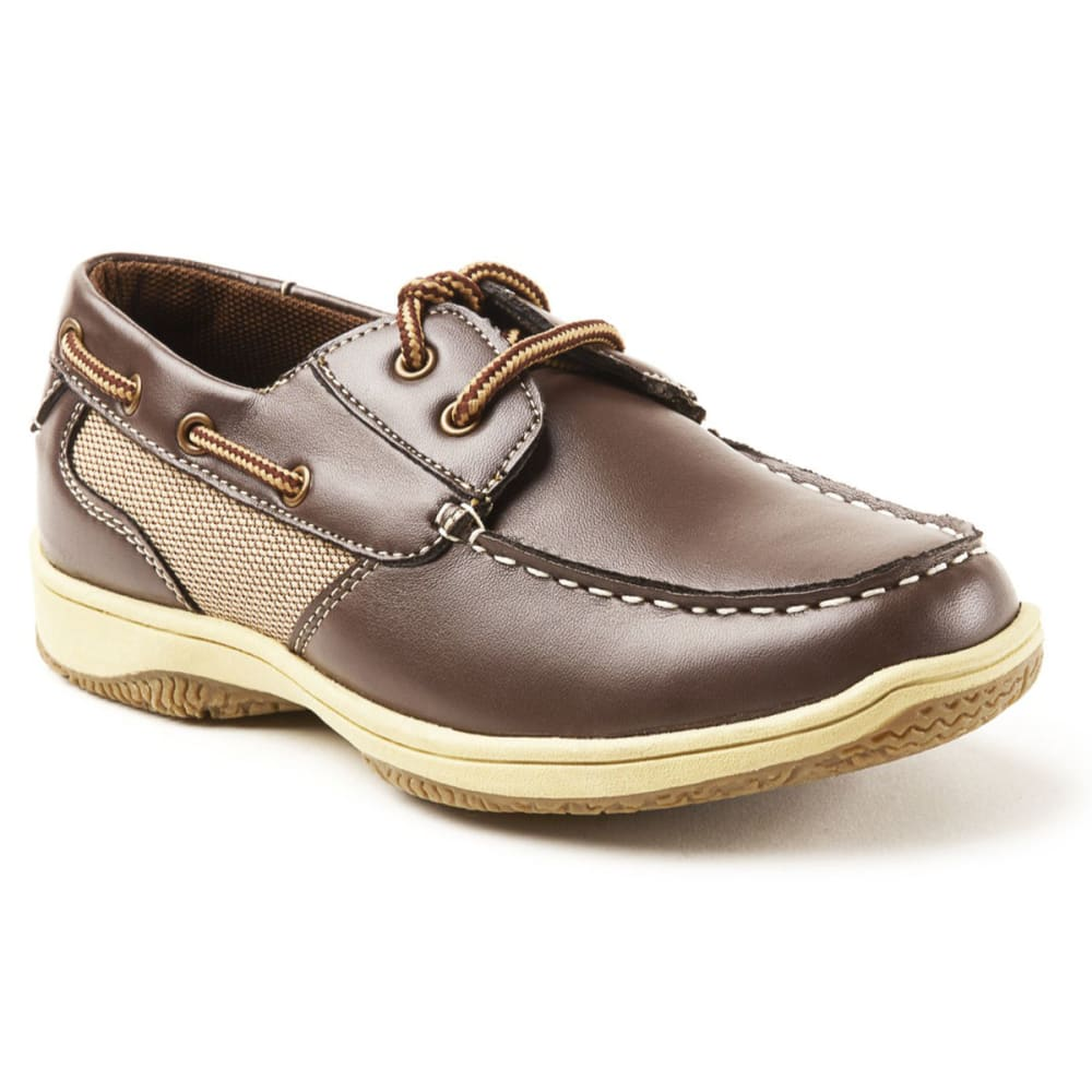 DEER STAGS Kids' Jay Boat Shoes - DARK BROWN