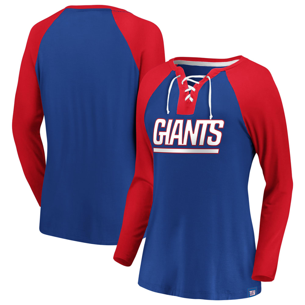 NEW YORK GIANTS Women's Break Out Play Lace Up Raglan Long-Sleeve Tee S