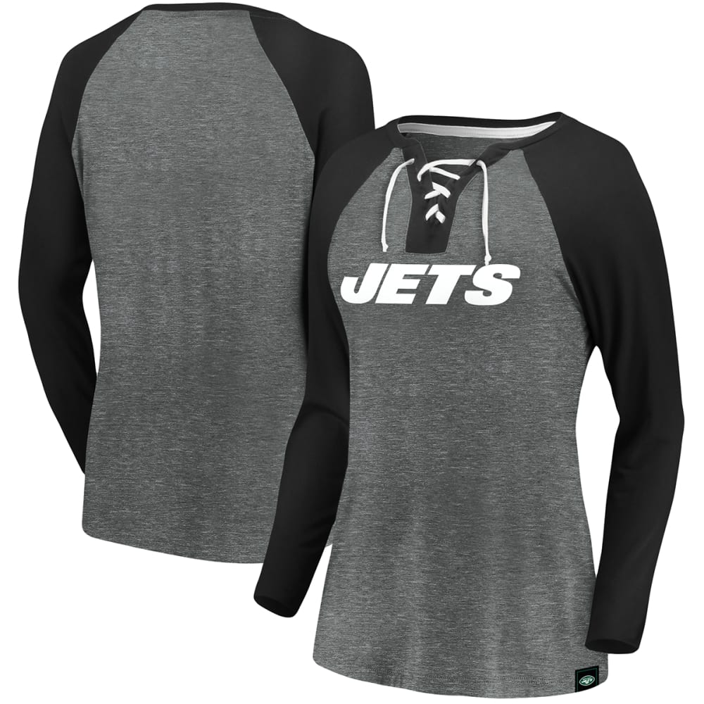 NEW YORK JETS Women's Break Out Play Lace Up Long-Sleeve Tee S