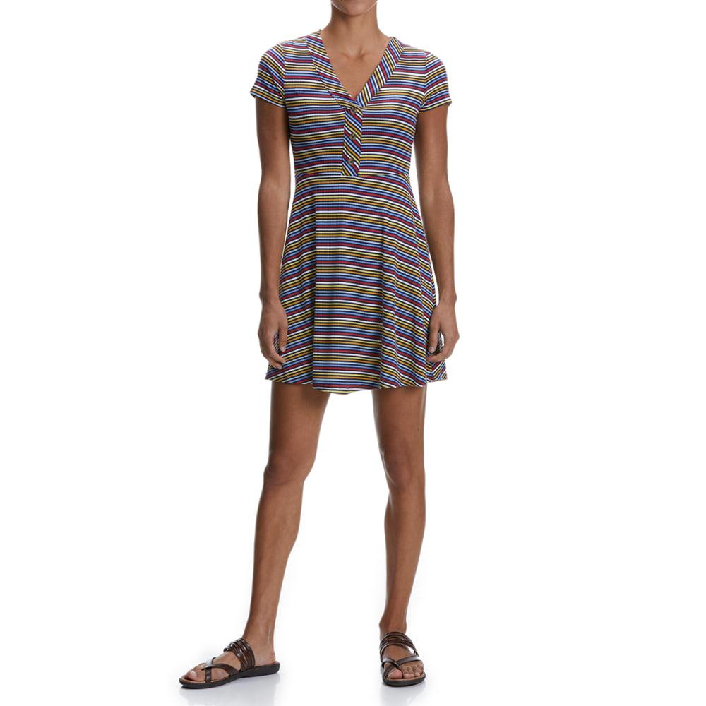 NO COMMENT Juniors' V-Neck Henley Short-Sleeve Dress - 2556S-MINI RIB STRIP