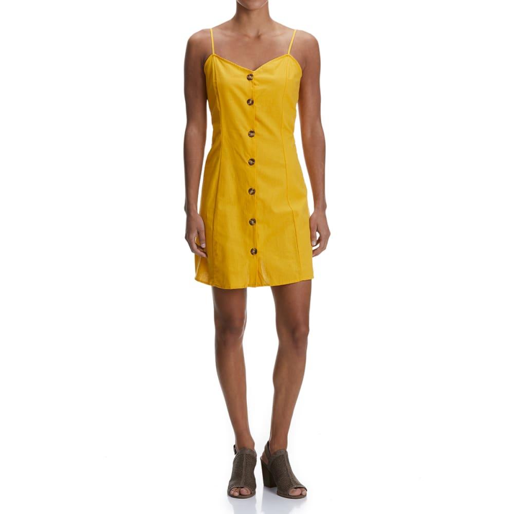 NO COMMENT Juniors'  Linen Blend Button Front Slip Dress - 831-MANGO MOJITO