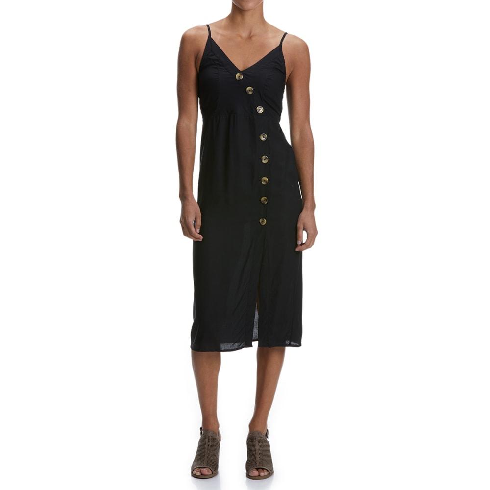 NO COMMENT Juniors' Button Front Maxi Dress - 001-BLACK