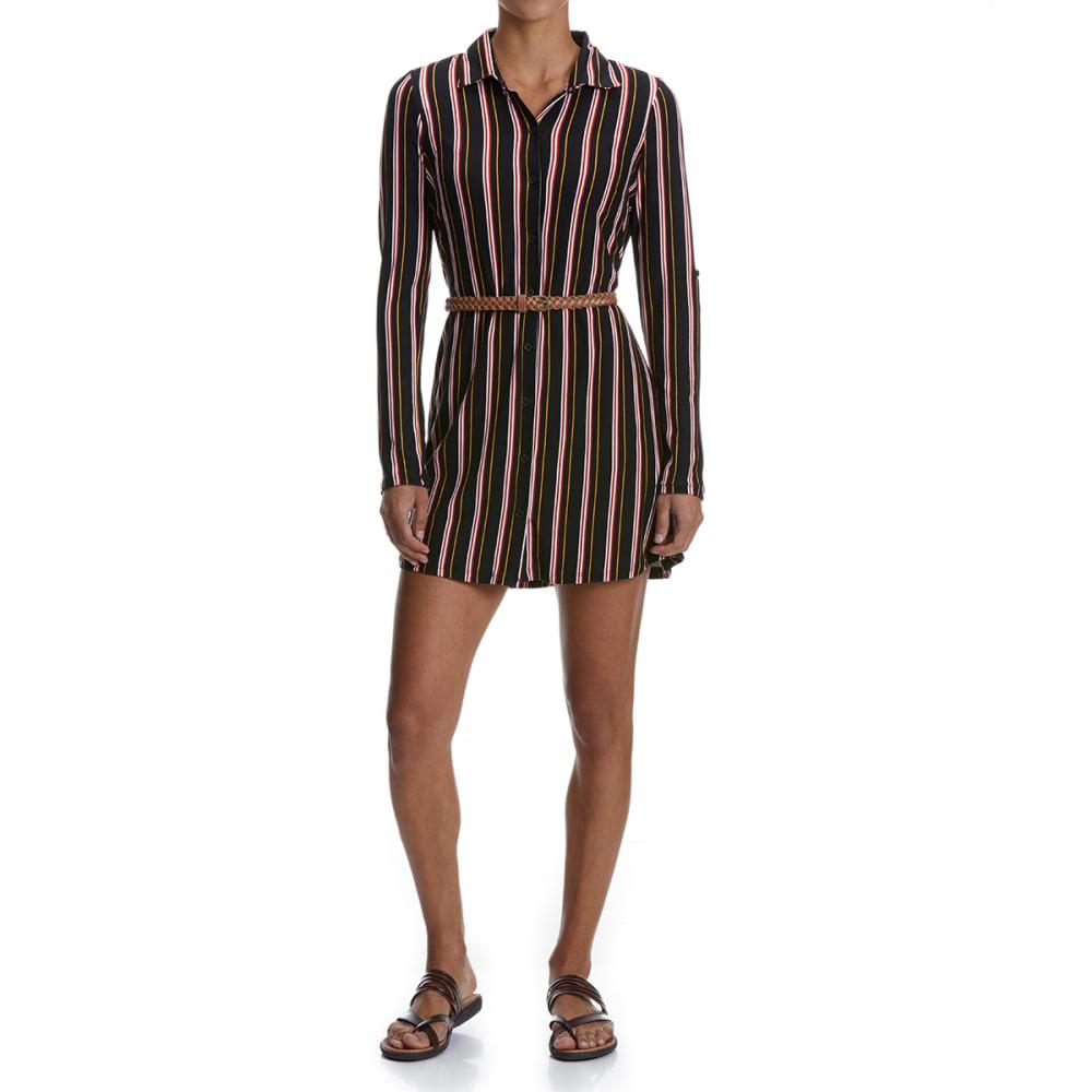 NO COMMENT Juniors' Belted Knit Dress - 2581H-SOMERSET STP