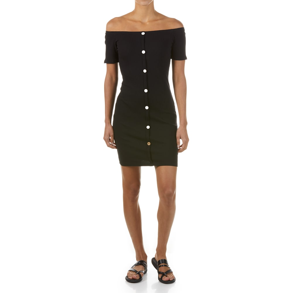 AMBIANCE Juniors' Off the Shoulder Button Front Knit Dress - BLACK