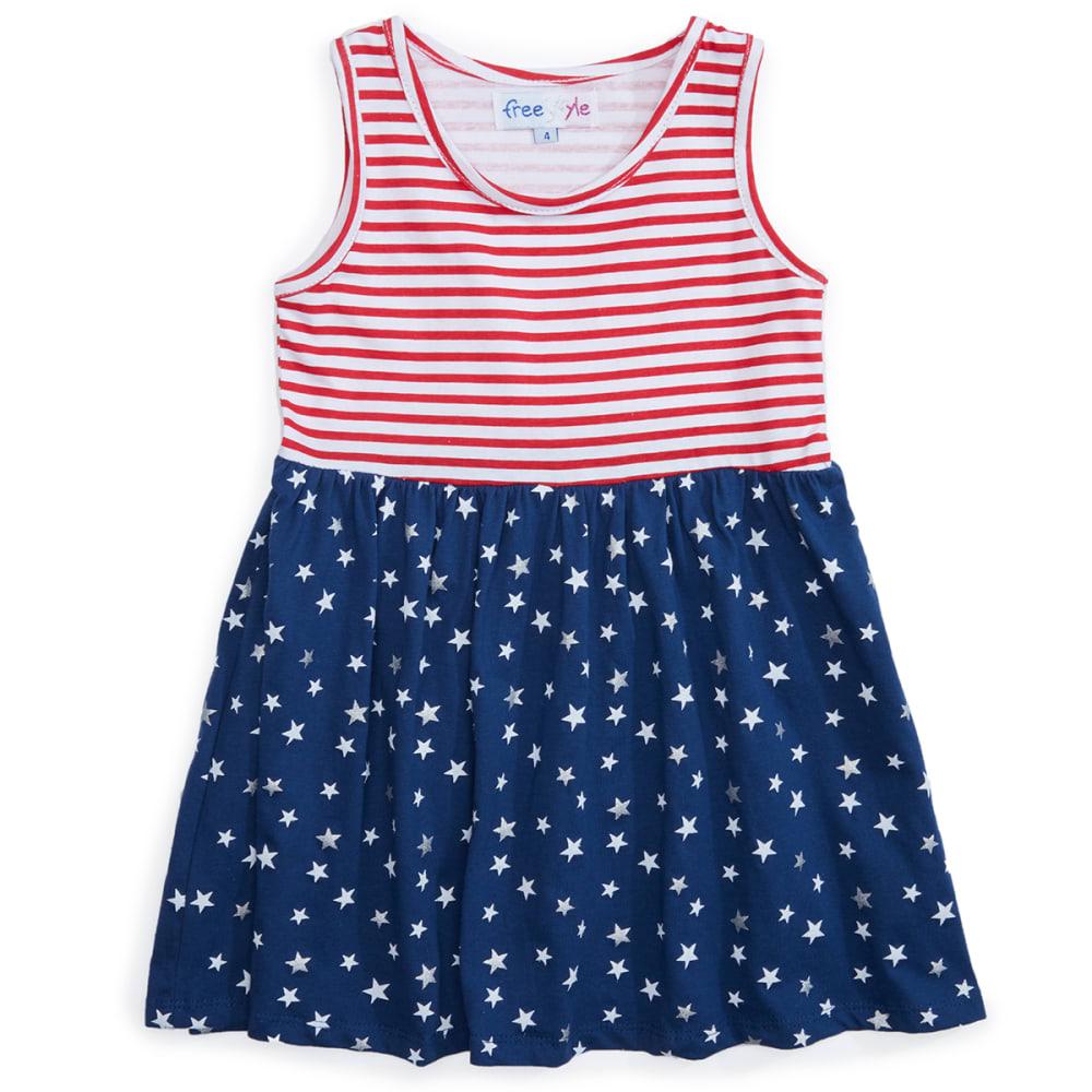 FREESTYLE Girls' Sleeveless Dress - RED WHITE & YOU