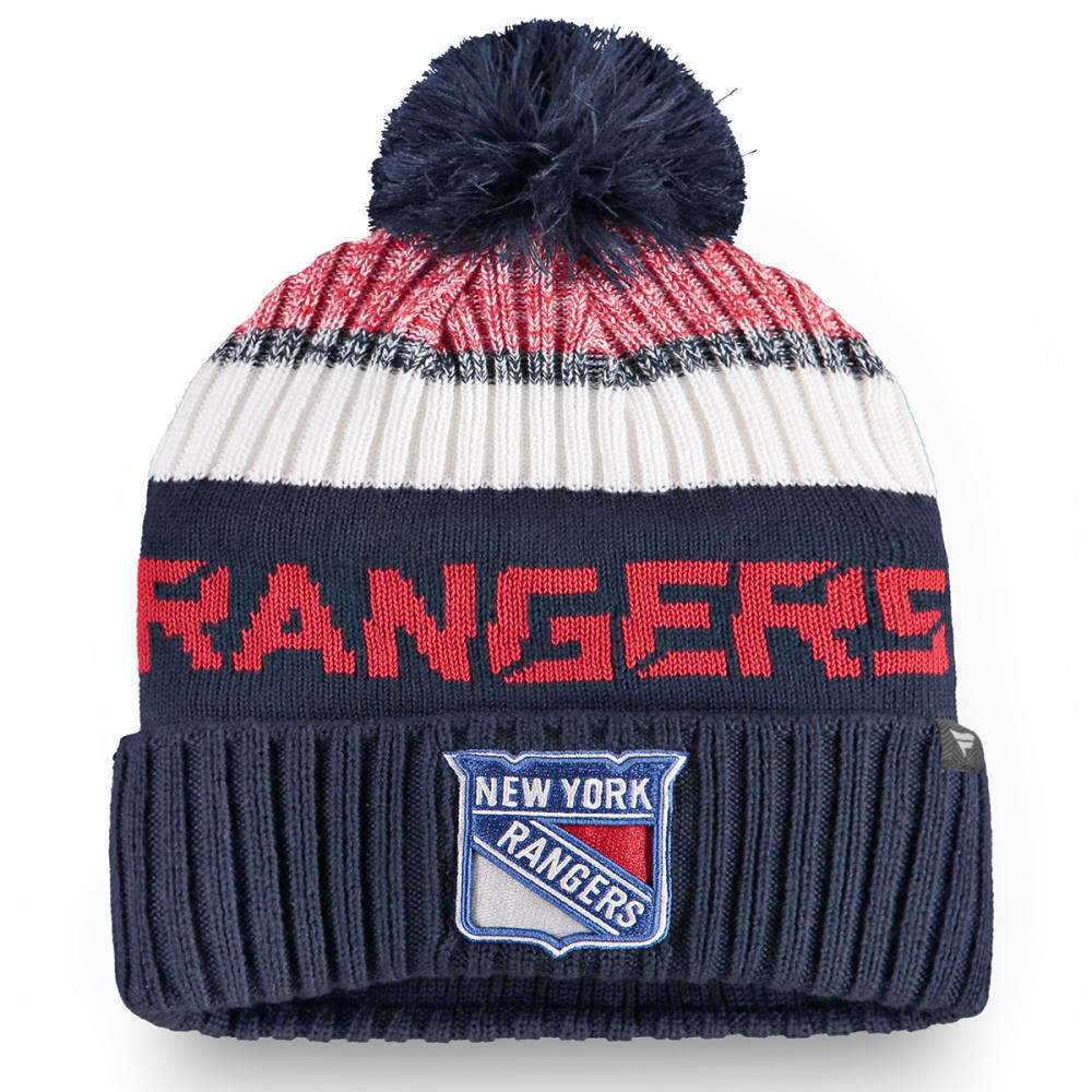 NEW YORK RANGERS Men's Authentic Pro Rinkside Goalie Beanie with Pom ONE SIZE