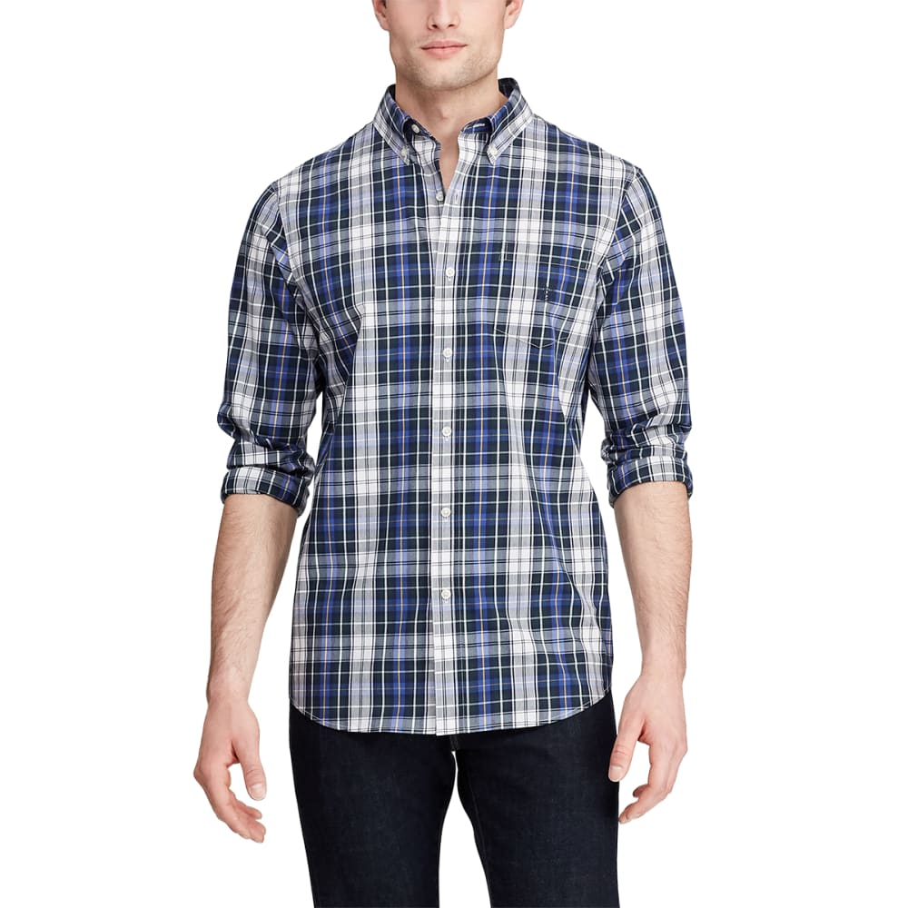CHAPS Men's Long-Sleeve Easycare Stretch Plaid Woven Button-Down Shirt M
