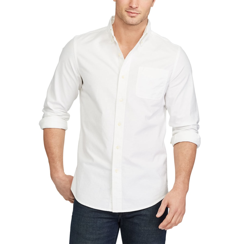 Chaps Men's Long-Sleeve Solid Stretch Oxford Shirt - White, M