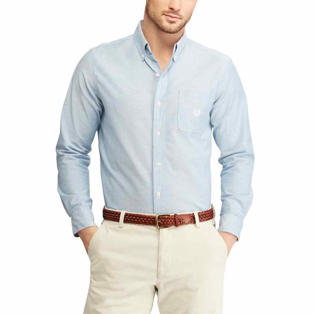 CHAPS Men's Long-Sleeve Solid Stretch Oxford Shirt - MEDIUM BLUE