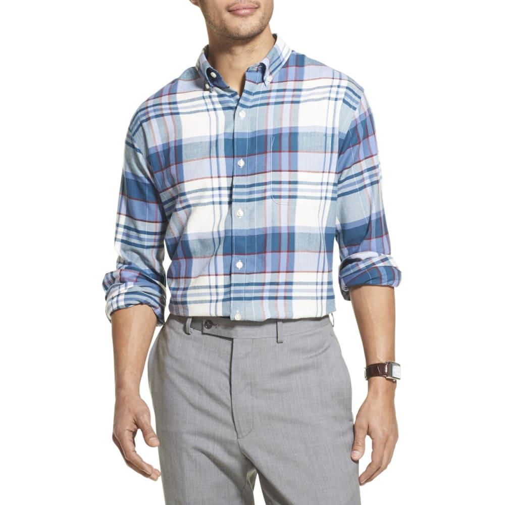 VAN HEUSEN Men's Long-Sleeve Flex Plaid Button Down Shirt M