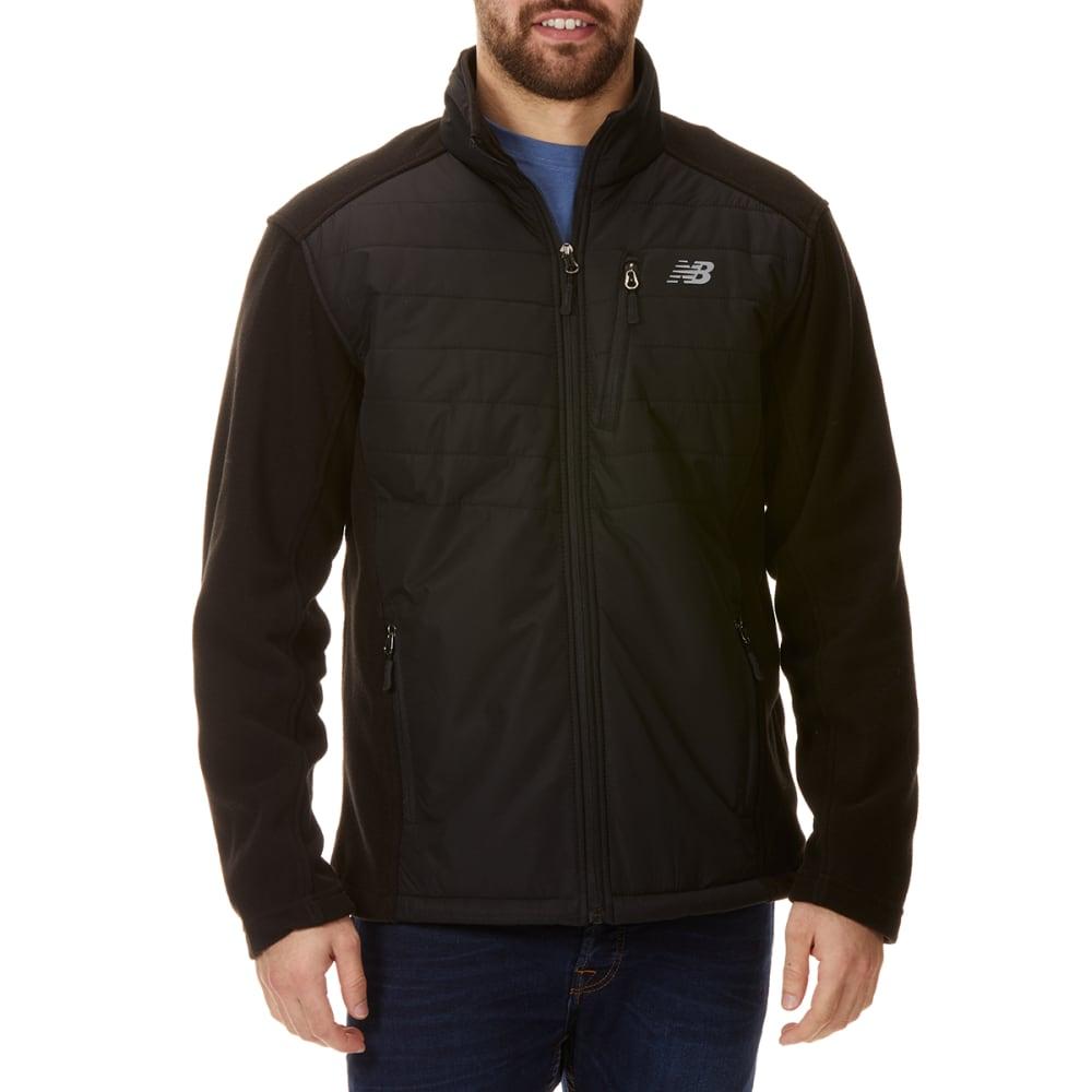 NEW BALANCE Men's Dobby Overlay Polar Fleece Jacket - BLACK-BK183