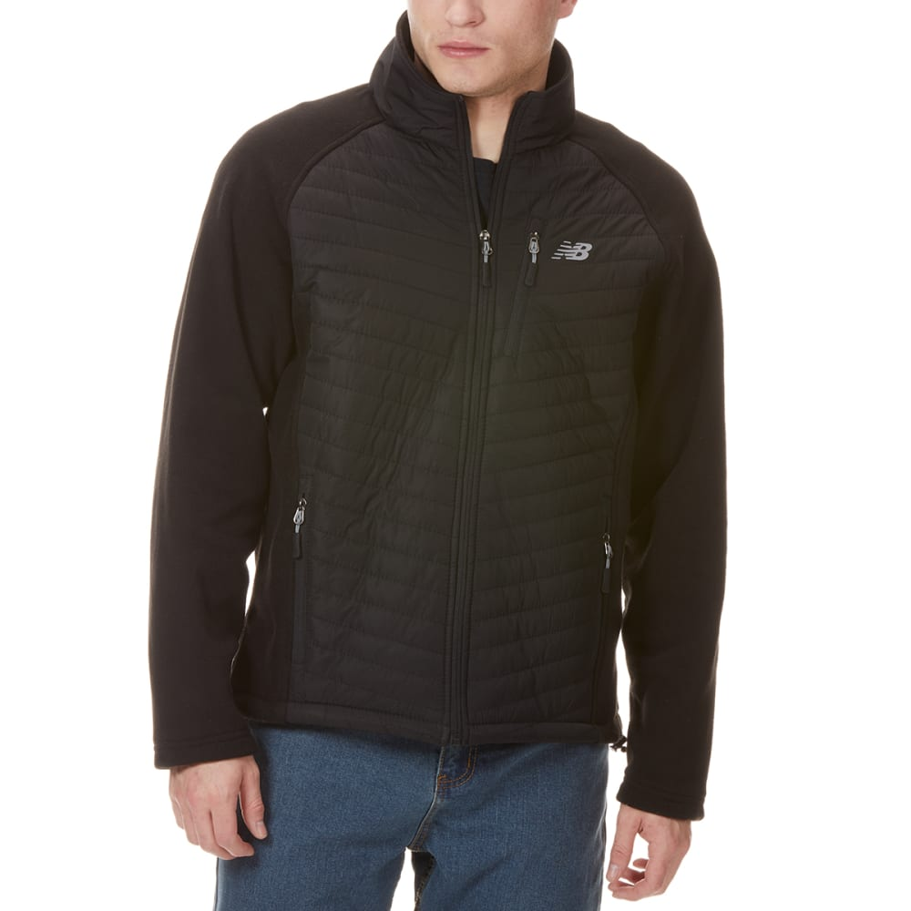 NEW BALANCE Men's Front Chevron Dobby Overlay Polar Fleece Jacket - BLACK-BK001