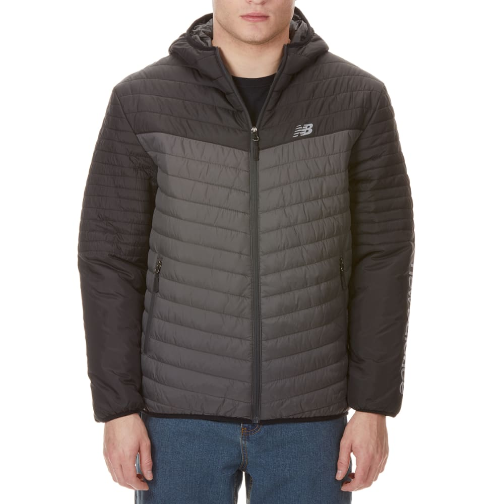 NEW BALENCE Men's Colorblocked Hooded Cire Puffer Jacket - BLACK-GY240