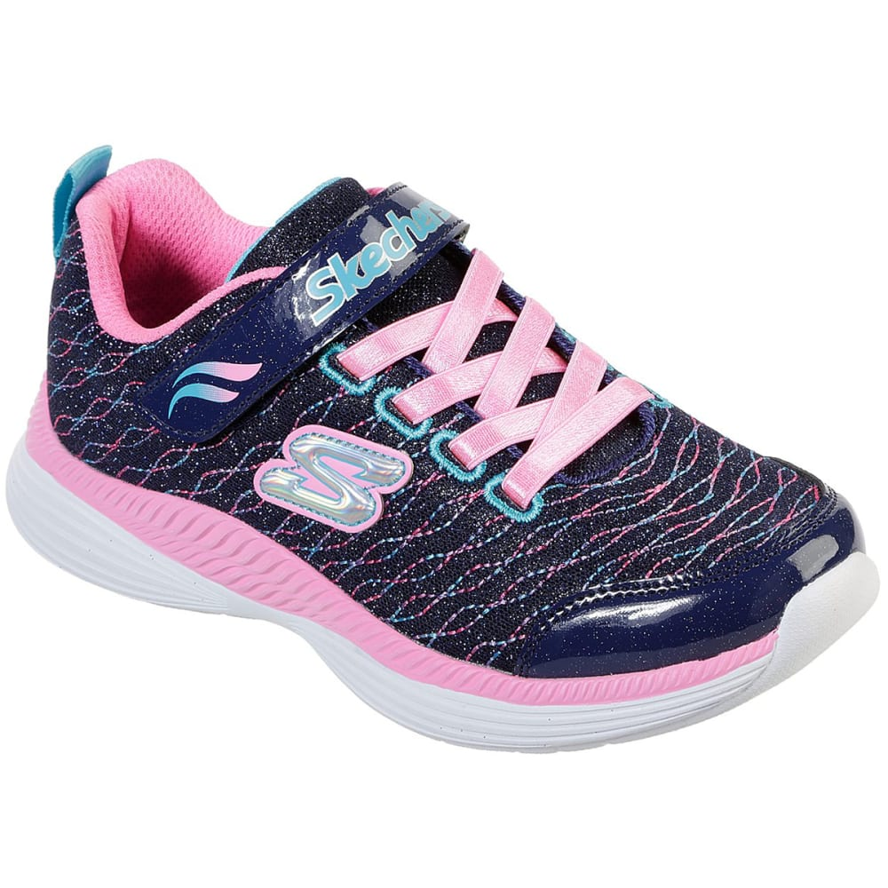 SKECHERS Little Girls' Move 'N Groove Sparkle Mesh Lace Up Shoes 1