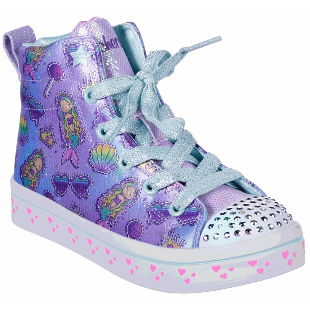 Skechers Girls' Twi-Lites Mermaid Party Hi-Top Sneaker - Purple, 11