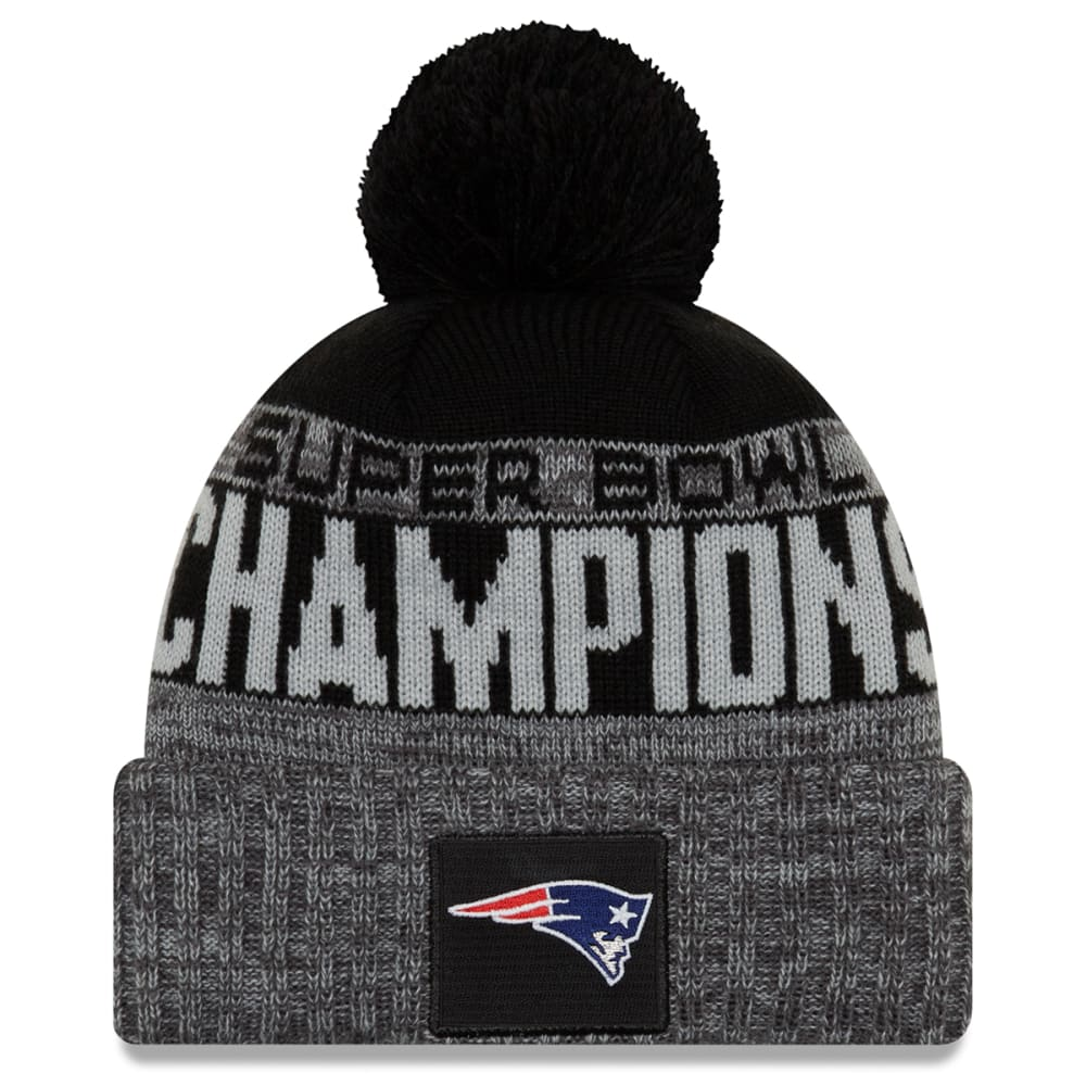 NEW ENGLAND PATRIOTS Super Bowl LIII Champions Parade Cuffed Pom Knit - BLACK